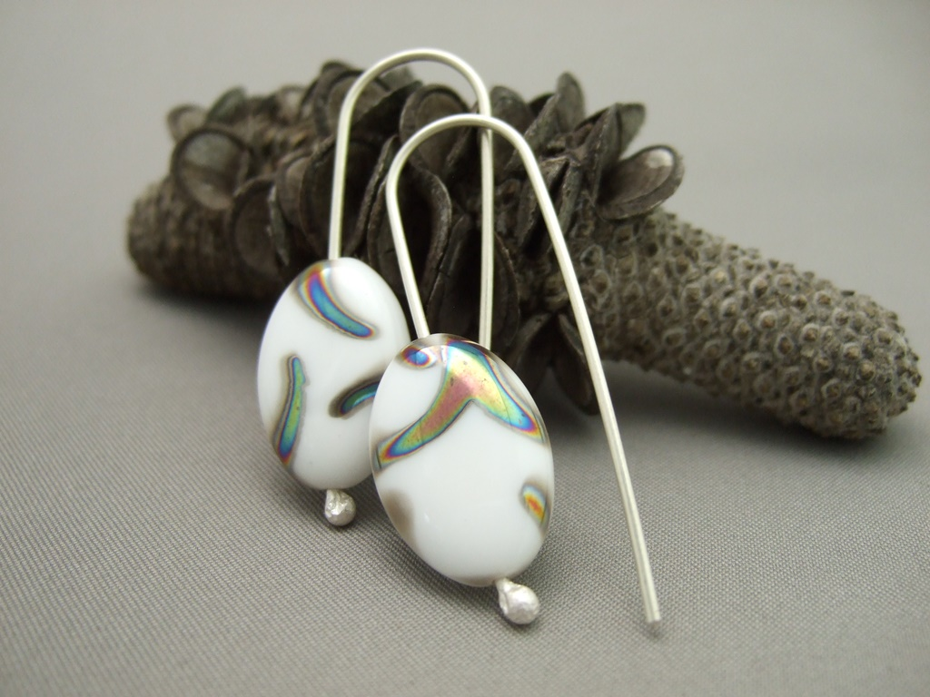 White Peacock Czech Glass and Sterling Silver Earrings