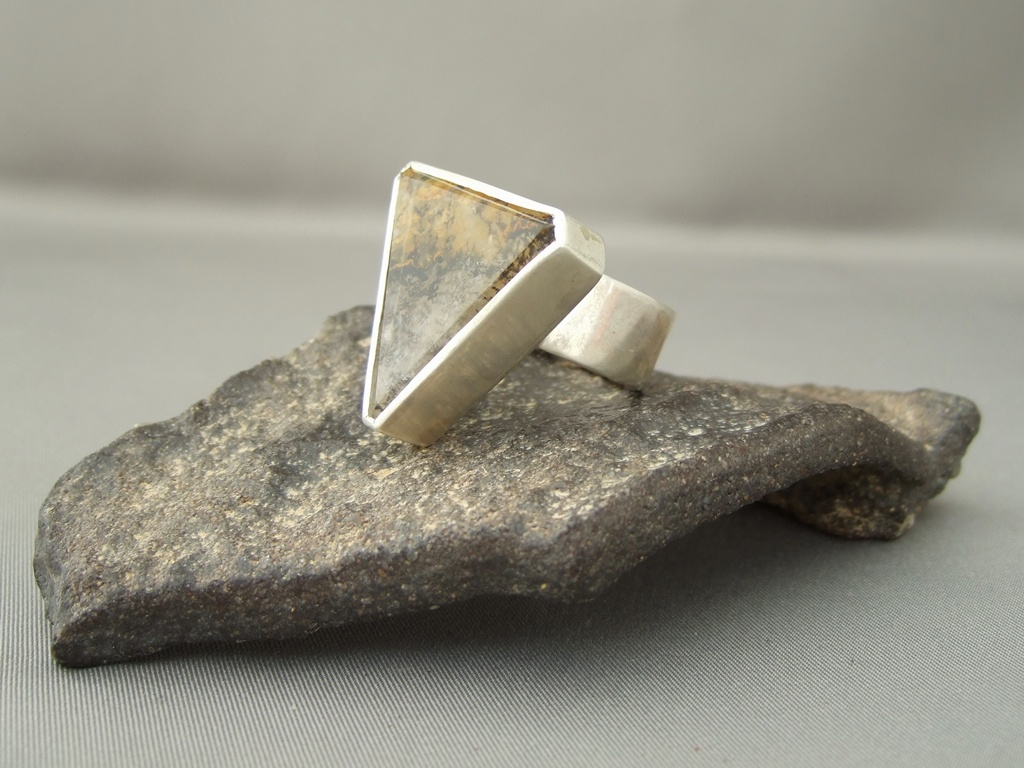 Dendritic Quartz and Sterling Silver Ring