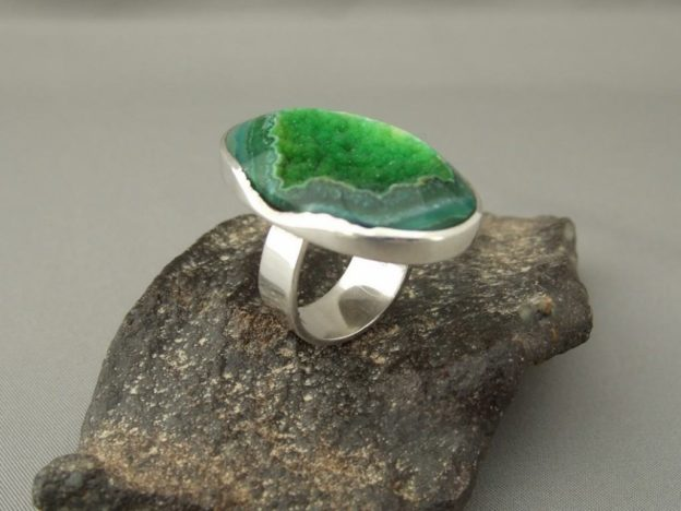 Green Drusy Agate and Sterling Silver Ring
