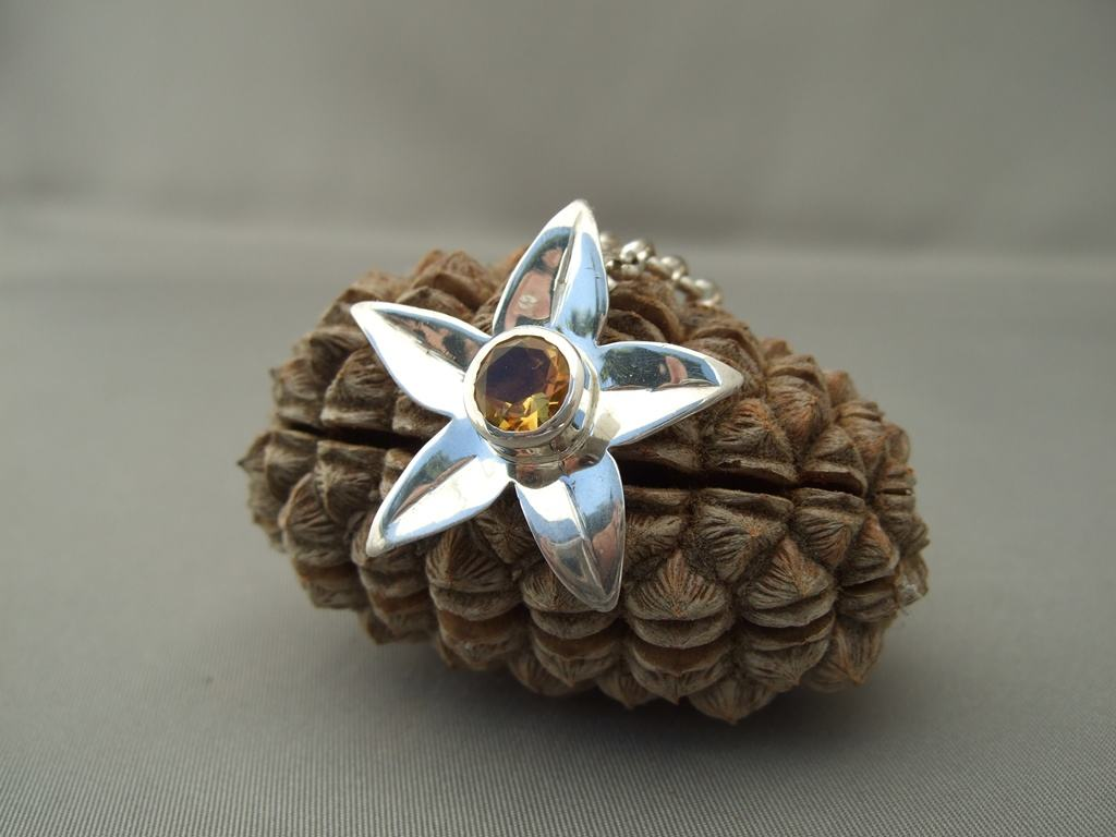 Topaz and Sterling Silver Flower Pendant