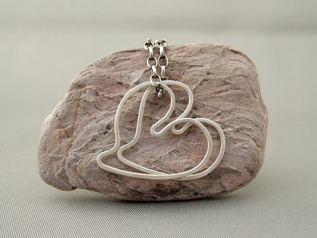 Twin Hearts Sterling Silver Pendant