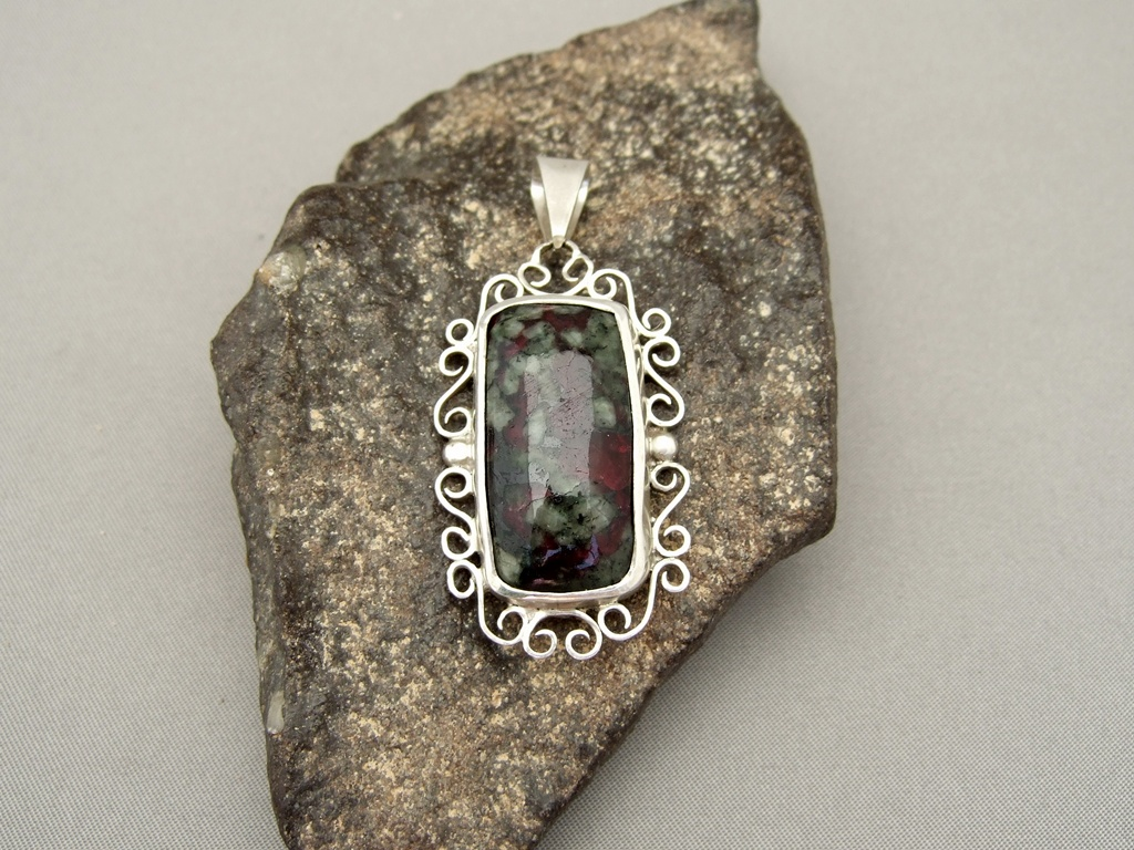 Eudialyte and Sterling Silver Pendant