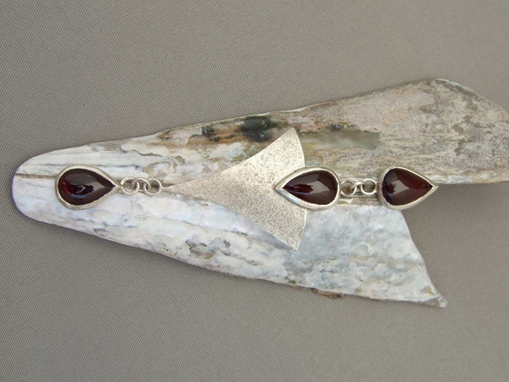 Teardrop Garnet and Sterling Silver Pendant