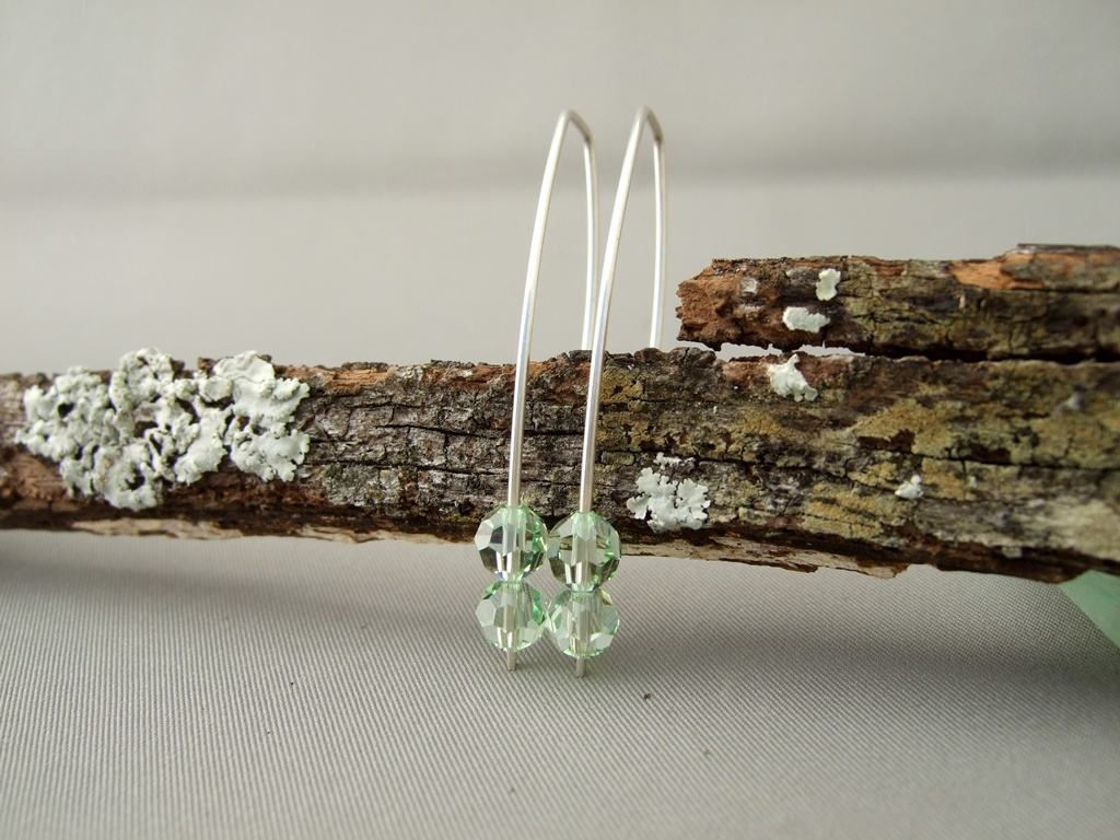 Chrysolite Crystal and Sterling Silver Earrings
