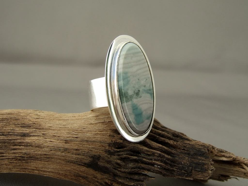 Ocean Wave Jasper and Sterling Silver Ring