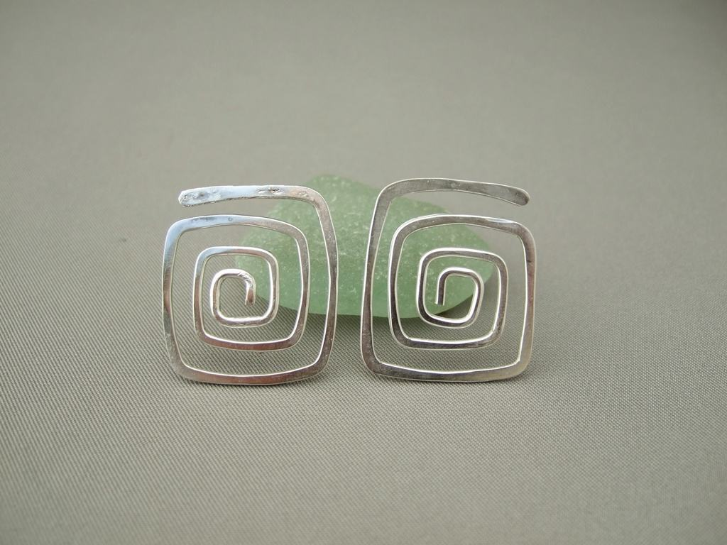 Square Spiral Post Back Earrings