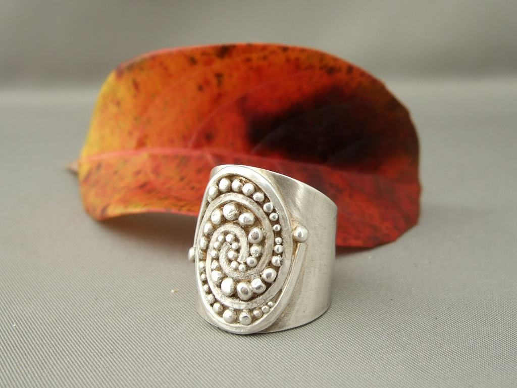 Swirl Ball Cuff Sterling Silver Ring