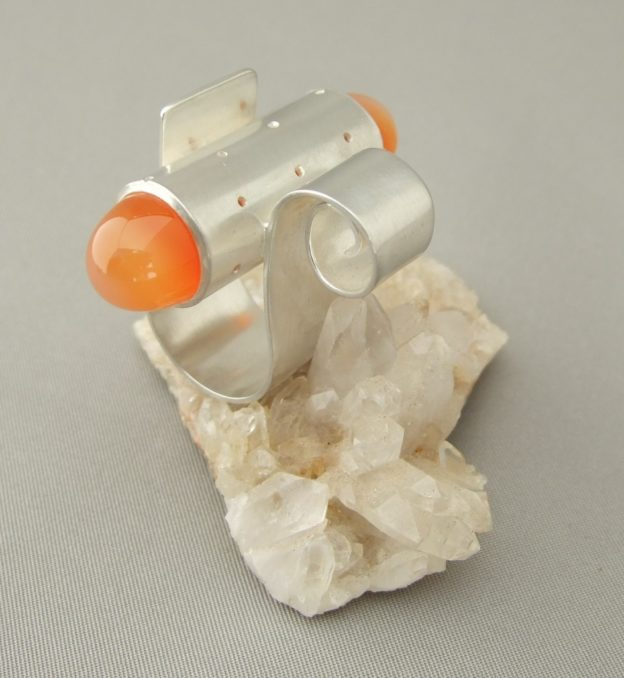 Large Orange Carnelian Spiral Sterling Silver Ring handcrafted by Ruthie Gray at The Silver Forge