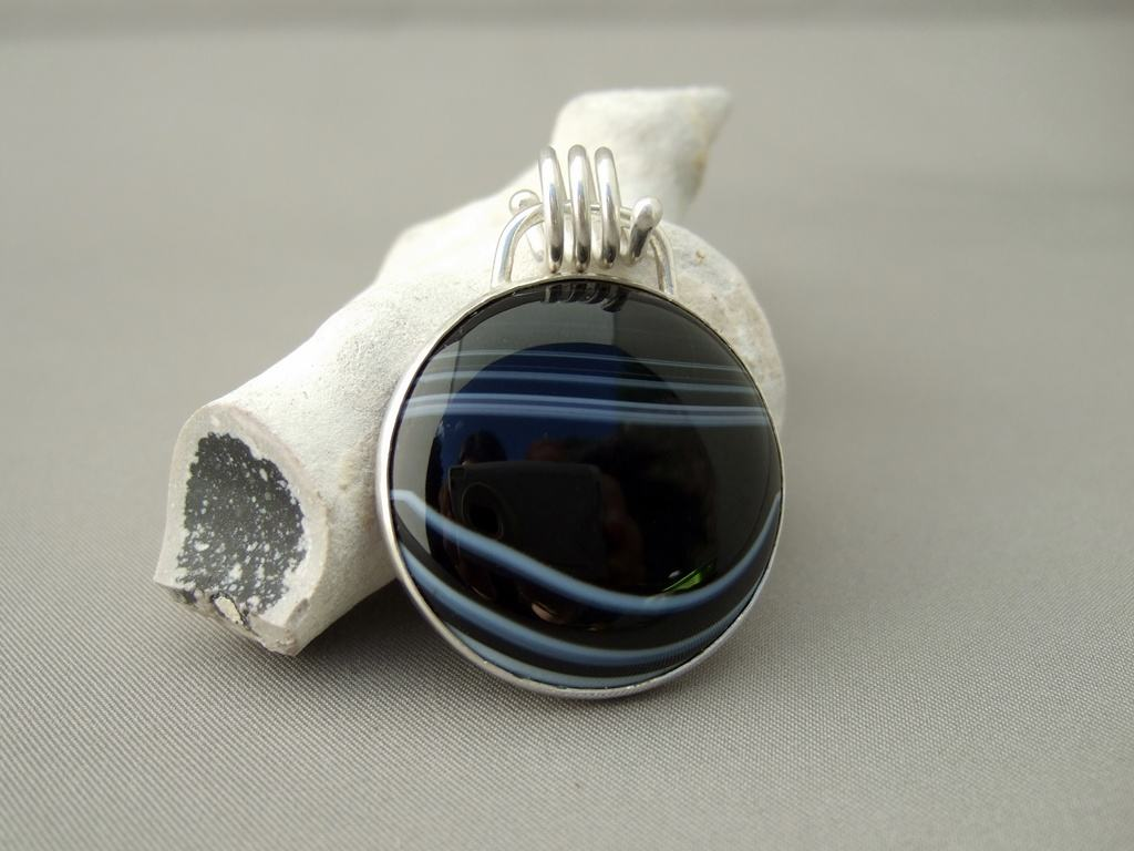 Banded Agate and Sterling Silver Pendant