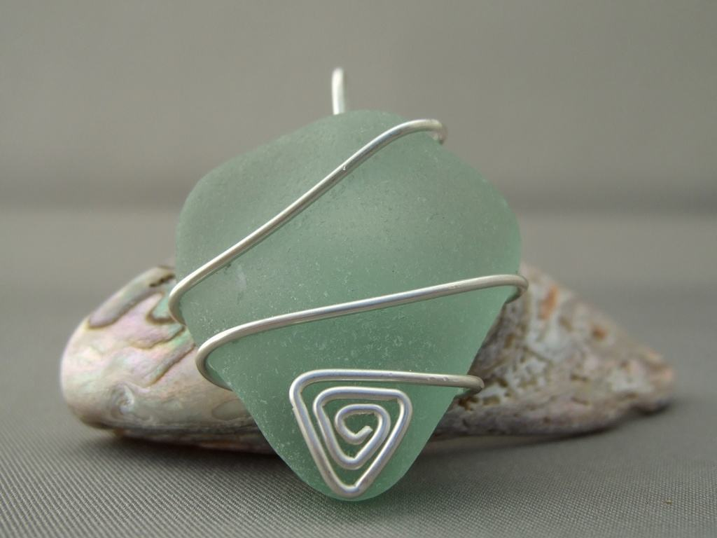 Seaglass and Sterling Silver Pendant
