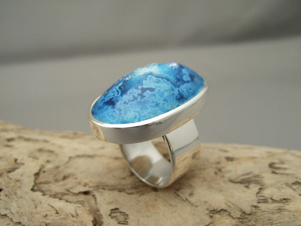 Large Bright Blue Drusy Agate and Sterling Silver Ring