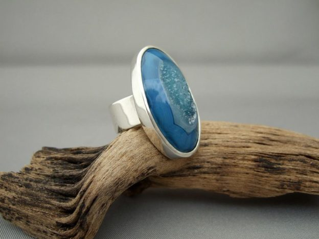 Navy Blue Drusy Agate and Sterling Silver Ring