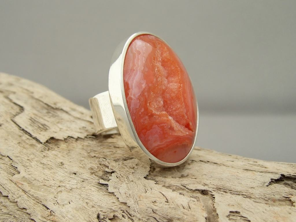 Orange Drusy Agate and Sterling Silver Ring