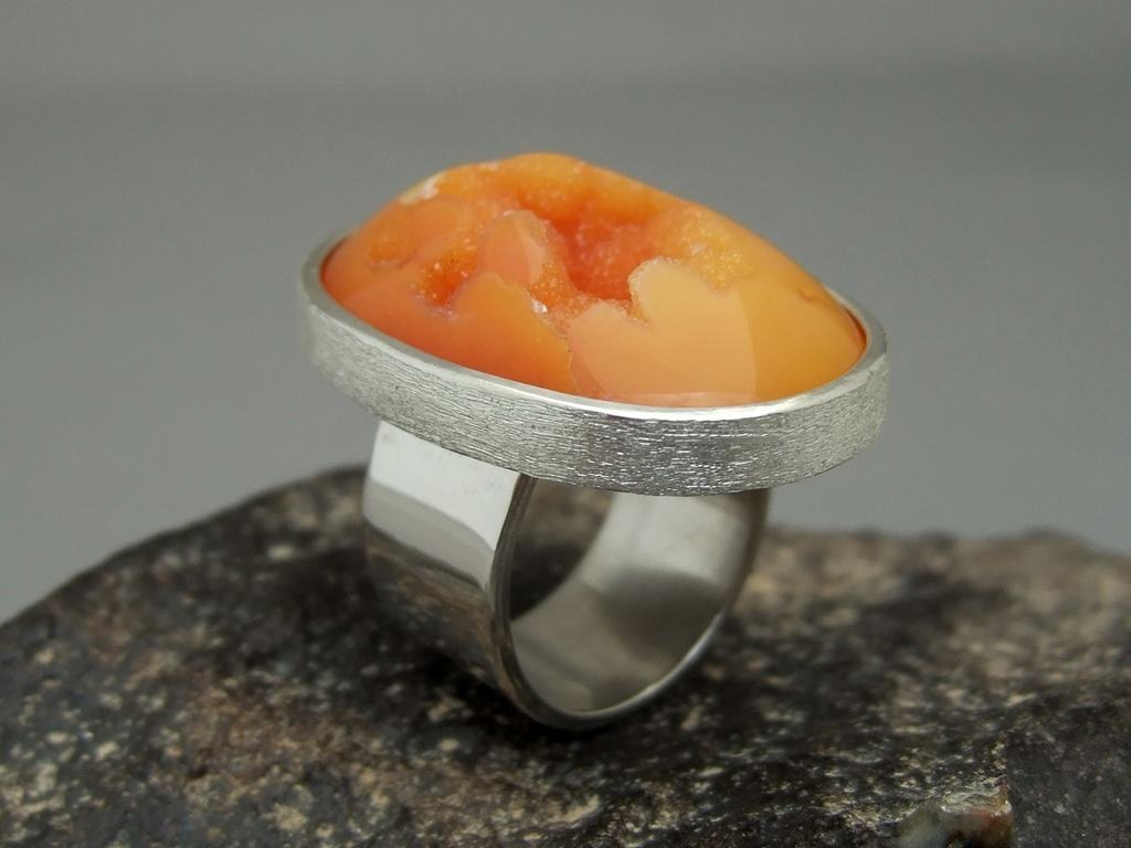 Bright Orange Drusy Agate and Sterling Silver Ring