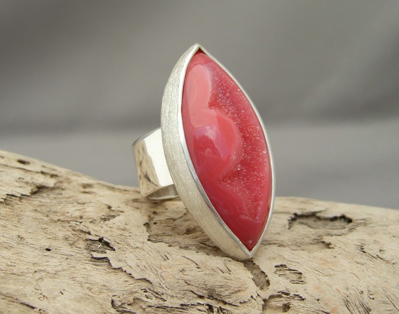 Coral Red Drusy Agate and Sterling Silver Ring