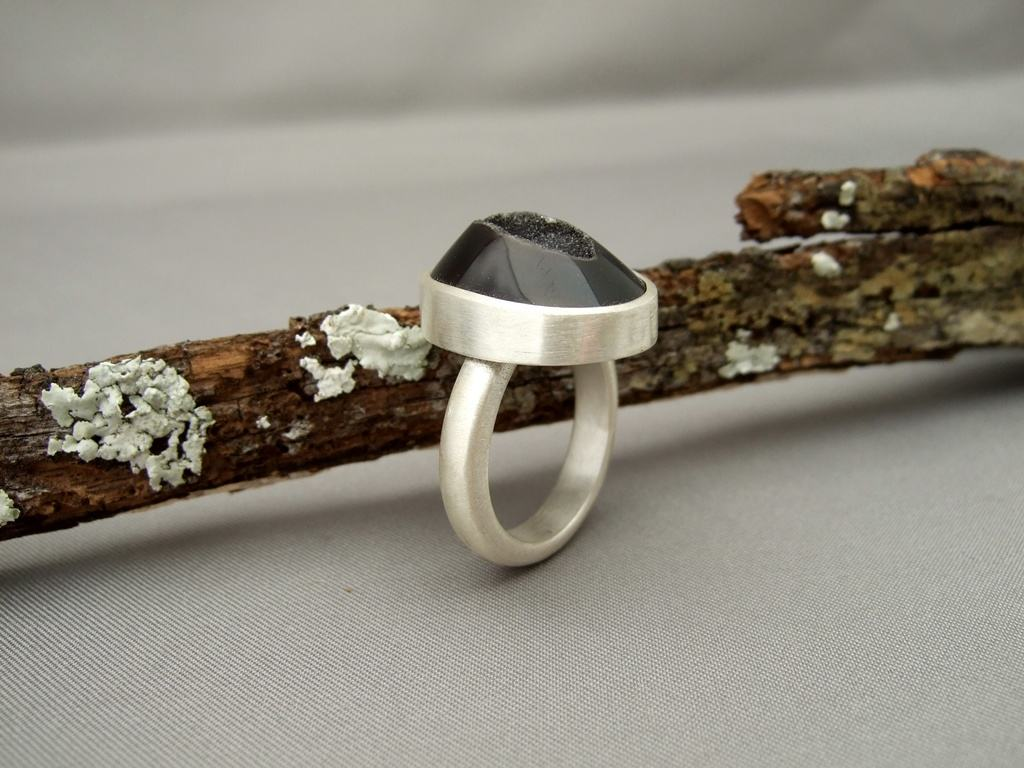 Coffee Drusy Agate and Sterling Silver Ring