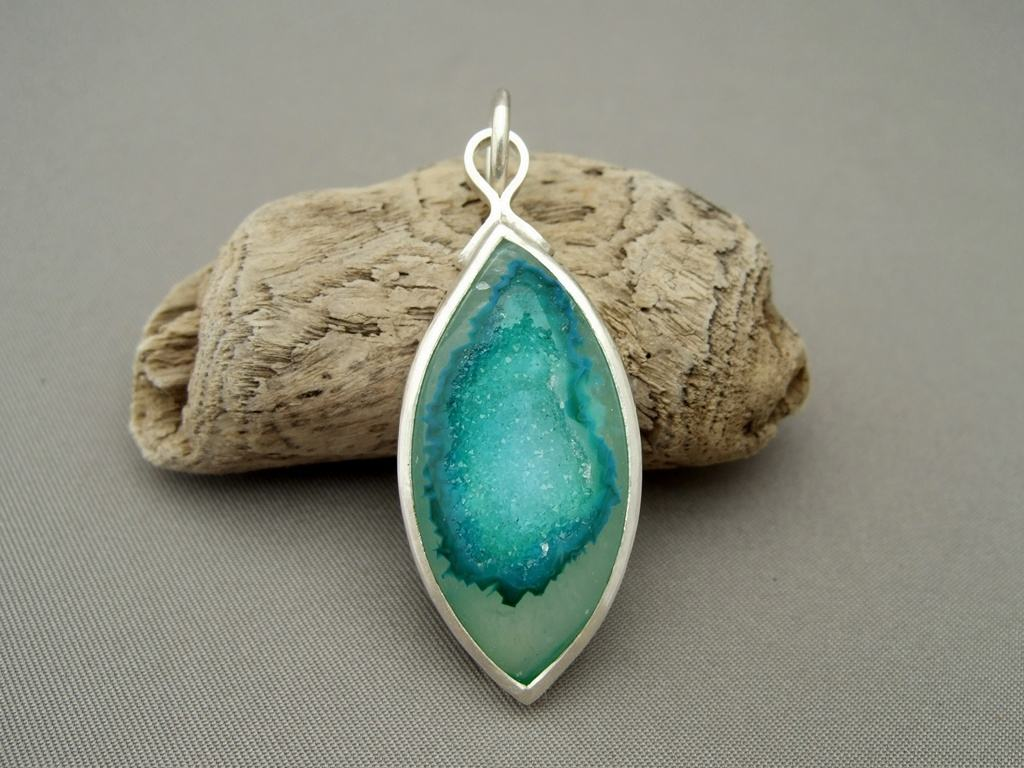 Sea Green Drusy Agate and Sterling Silver Pendant