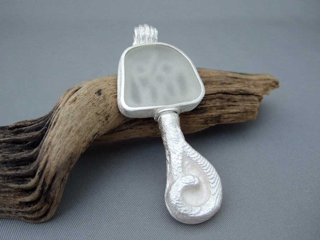 Seaglass and Sterling Silver Cuttlefish Cast Pendant