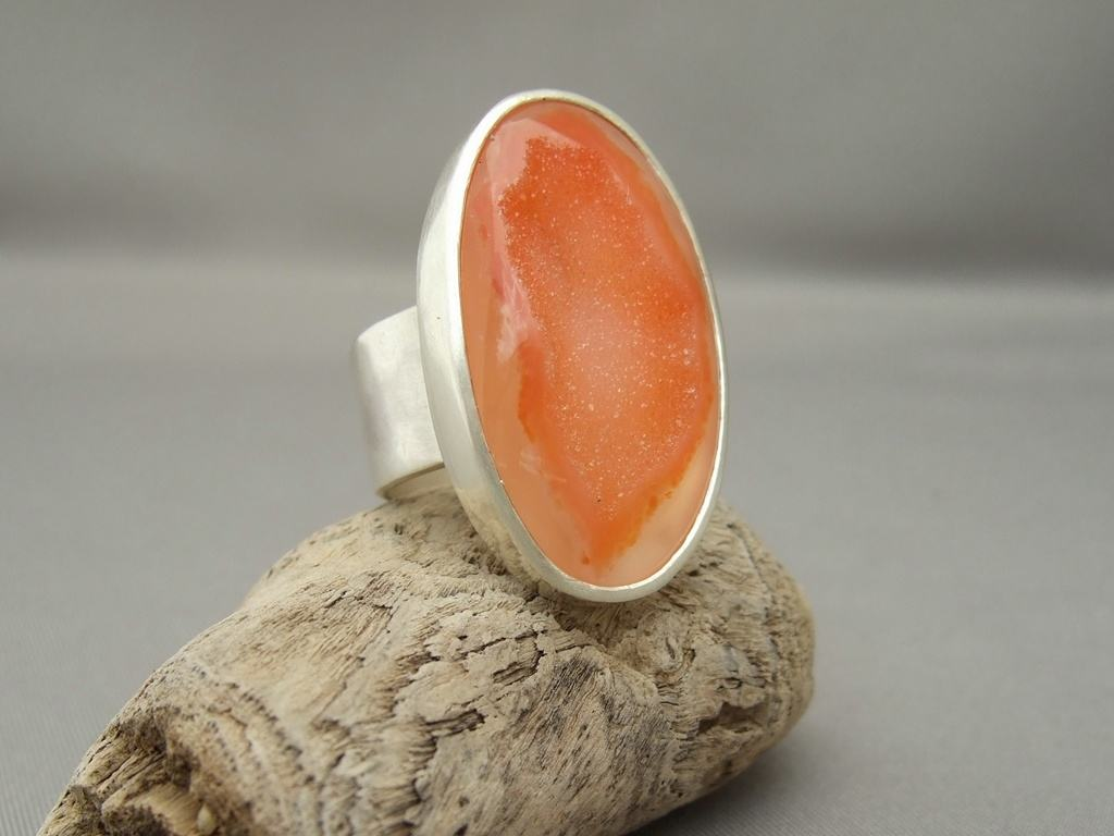 Apricot Orange Drusy Agate and Sterling Silver Ring