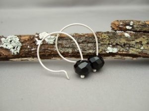 Black Czech Glass and Sterling Silver Earrings