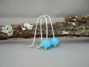 Blue Czech Glass and Sterling Silver Earrings