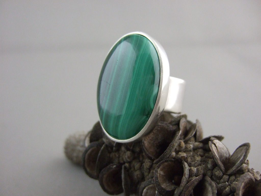 Malachite Ring and Azurite Earrings