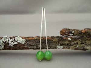 Green Czech Glass and Sterling Silver Earrings