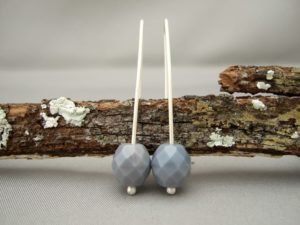 Grey Czech Glass and Sterling Silver Earrings