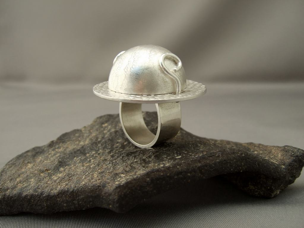 Grey Moonstone and Sterling Silver Dome Lidded Ring