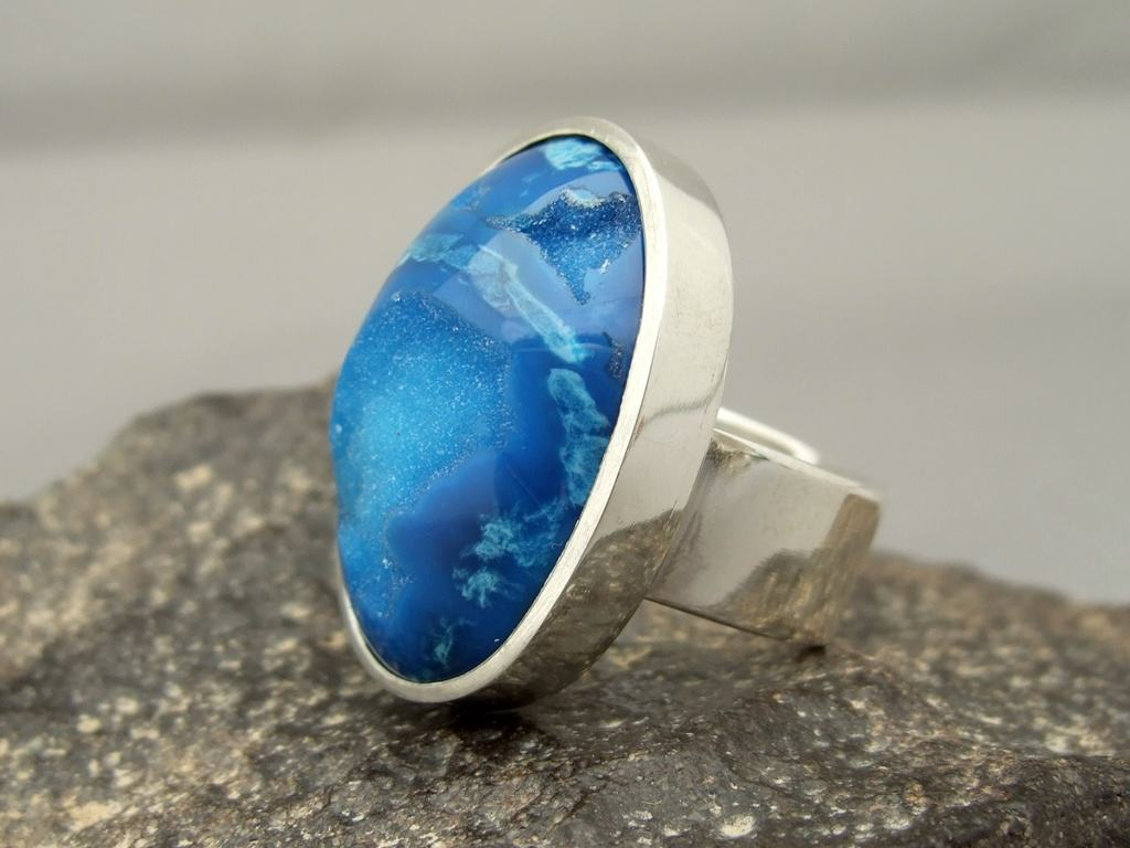 Medium Bright Blue Drusy Agate and Sterling Silver Ring