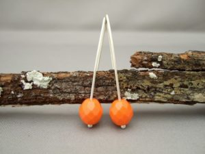 Orange Czech Glass and Sterling Silver Earrings