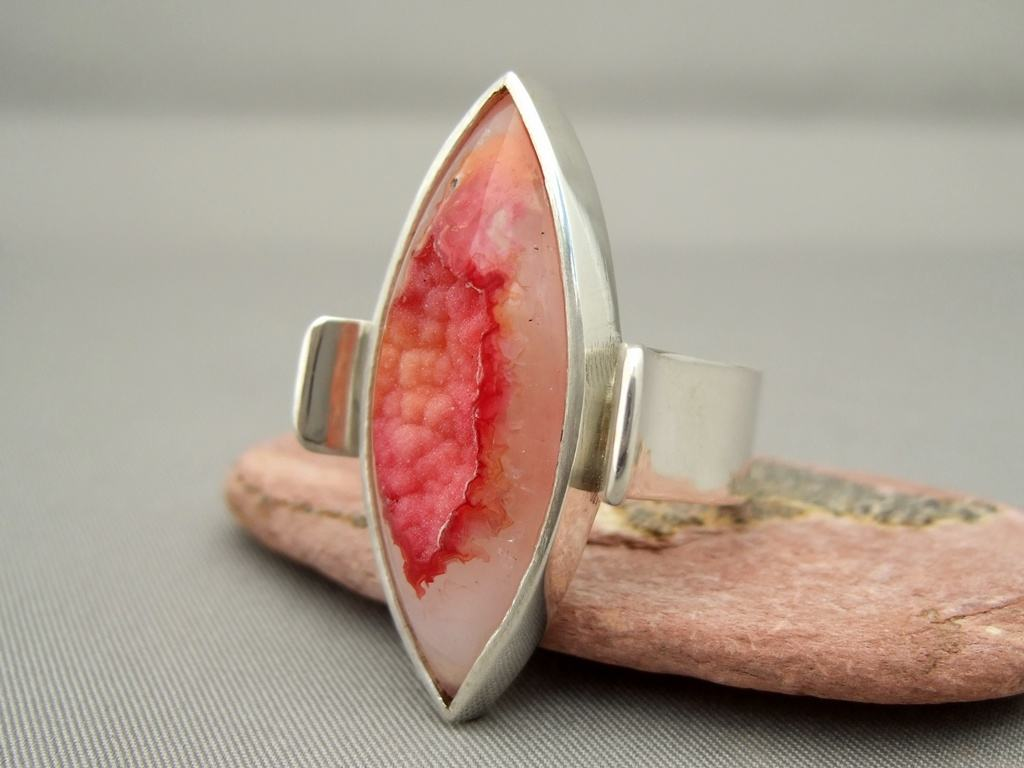 Orange Red Marquis Cut Drusy Agate and Sterling Silver Ring