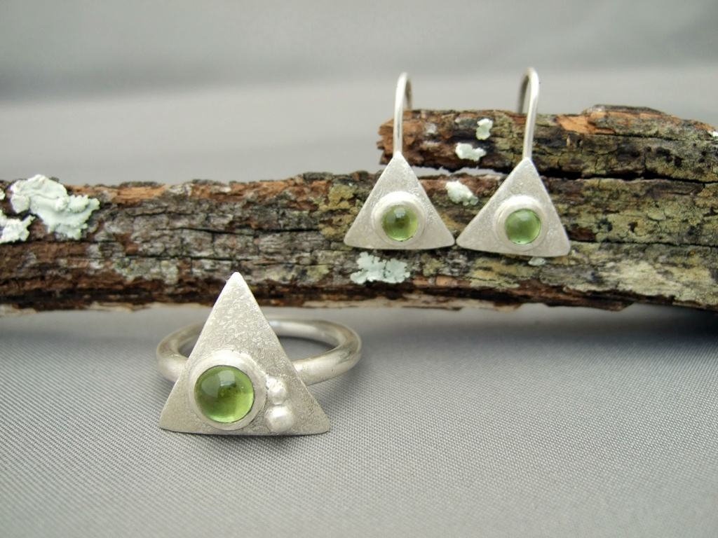 Peridot Triangle Ring and Earrings