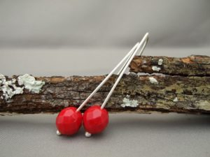 Red Czech Glass and Sterling Silver Earrings