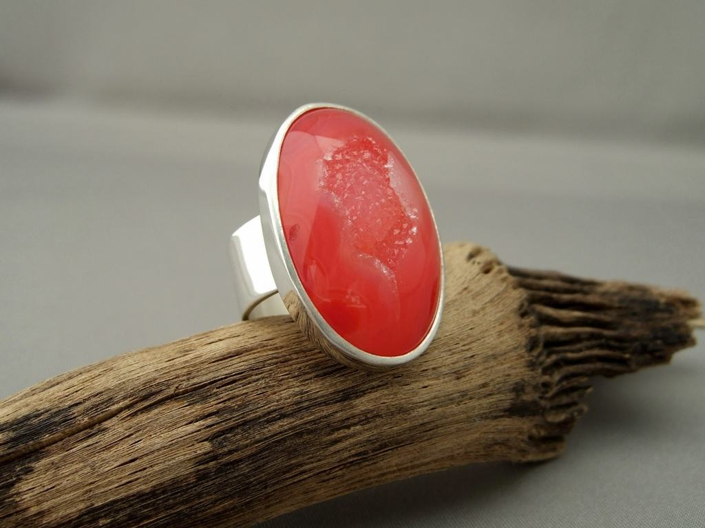 Red Drusy Agate and Sterling Silver Ring