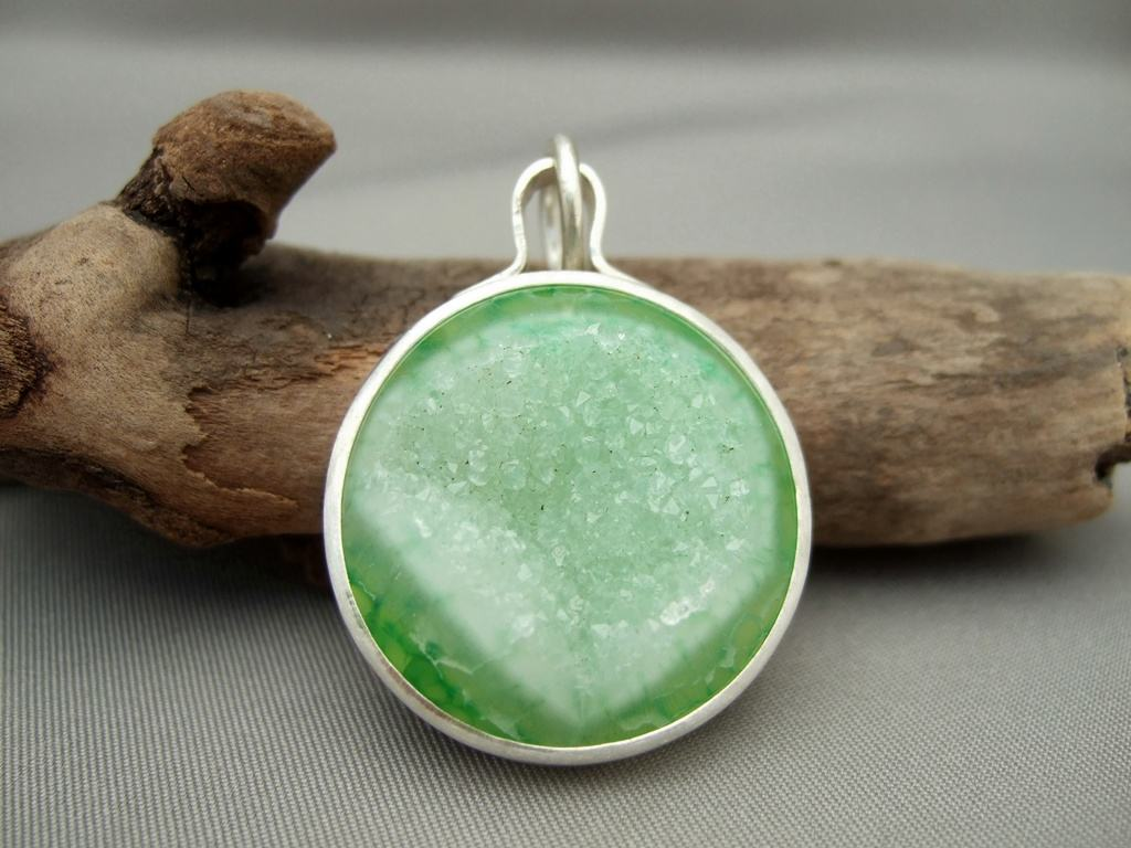 Round Green Drusy Agate and Sterling Silver Pendant