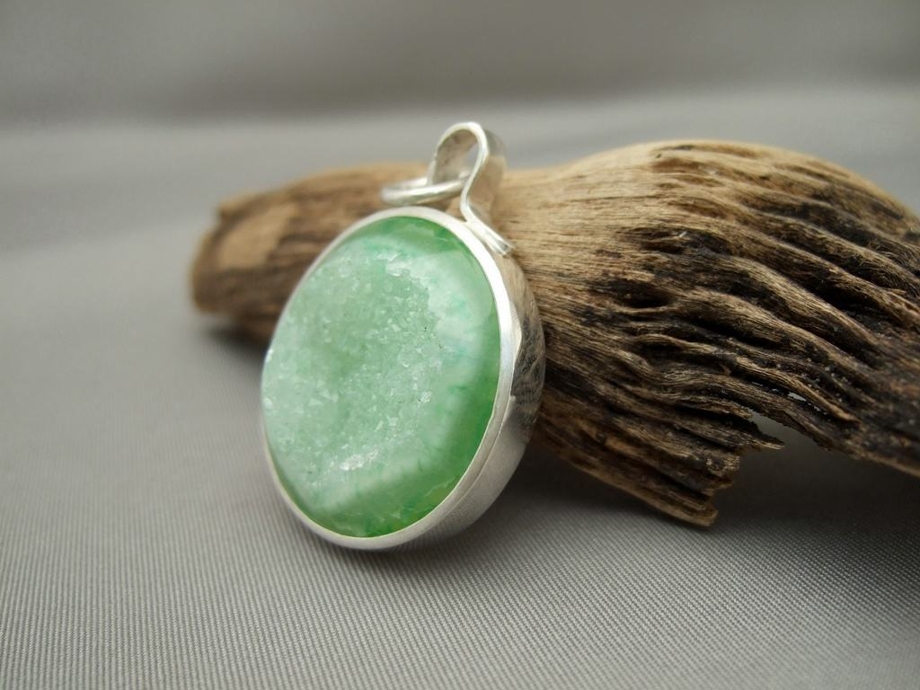 Round Green Drusy Agate and Sterling Silver Pendant 2