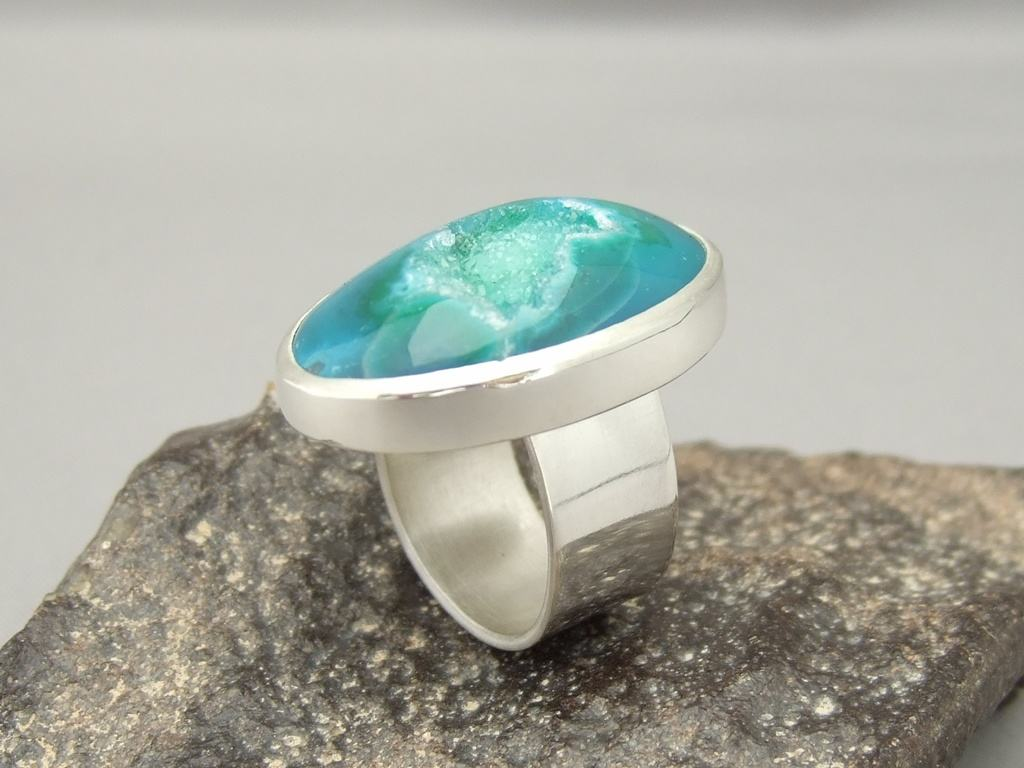 Sea Green Drusy Agate and Sterling Silver Ring