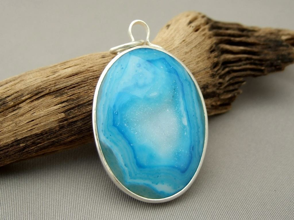 Sky Blue Drusy Agate and Sterling Silver Pendant