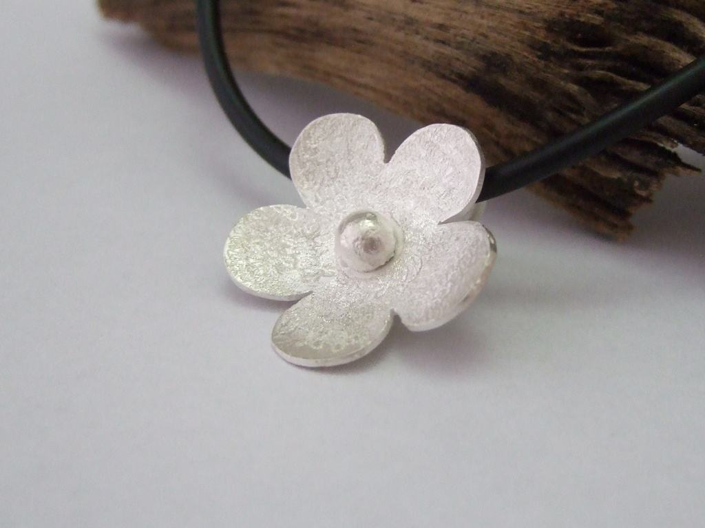 Sterling Silver Flower Pendant - From Made It With Love