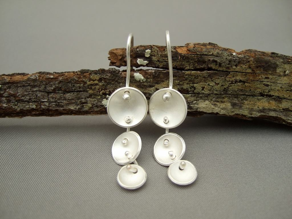 Domed Disc Drop Sterling Silver Earrings
