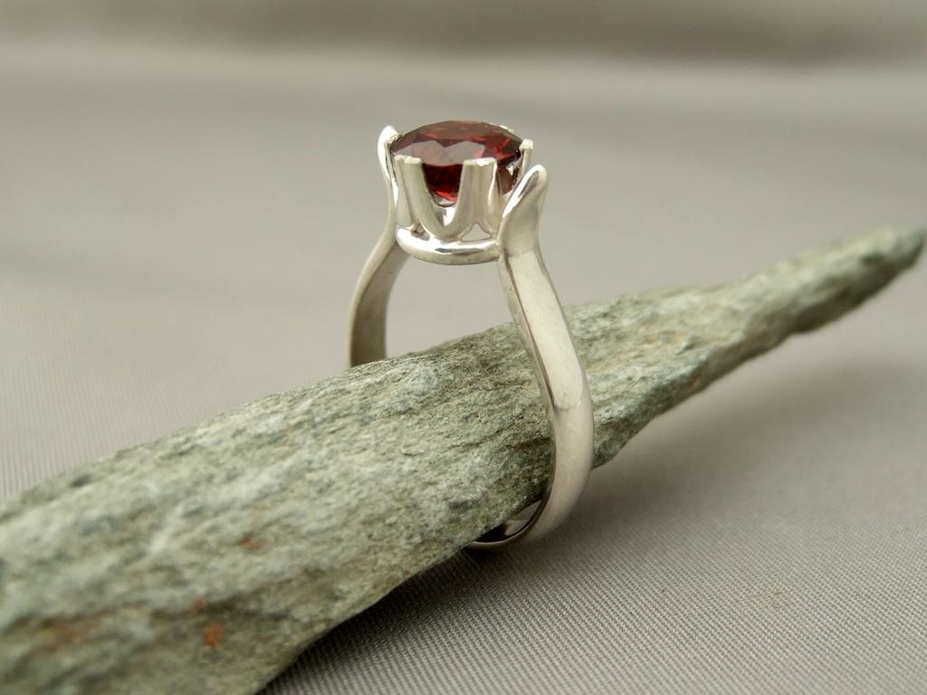 Garnet Crown Set Sterling Silver Ring 1