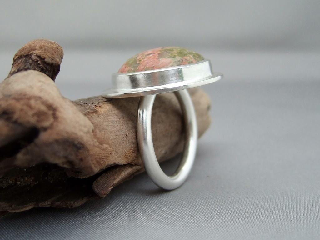 Unakite and Sterling Silver Ring 1
