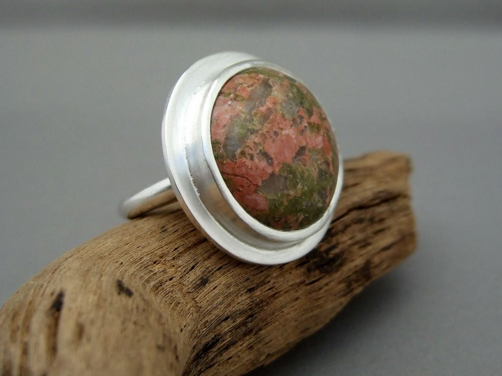 Unakite and Sterling Silver Ring 2