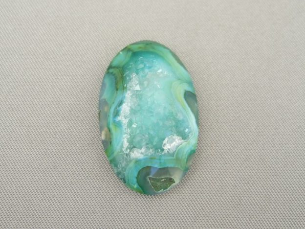 Drusy Agate - Mint Green Swirl Oval Cabochon