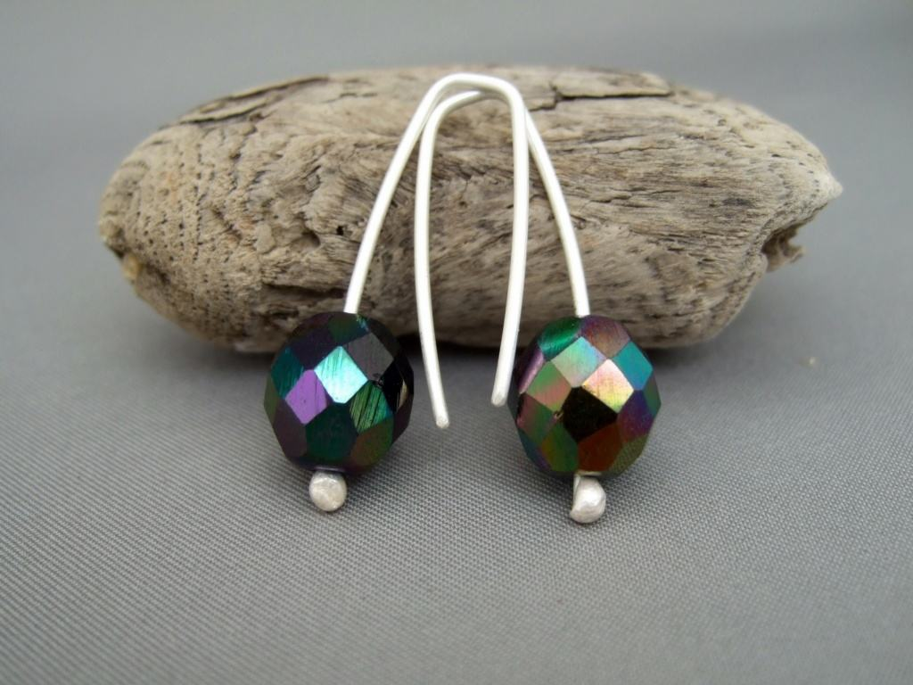 Black Fire Earrings. Sterling Silver Fire Polished Czech Glass Modern Contemporary Earrings.
