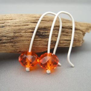 Fanta Orange Sterling Silver Czech Glass Earrings