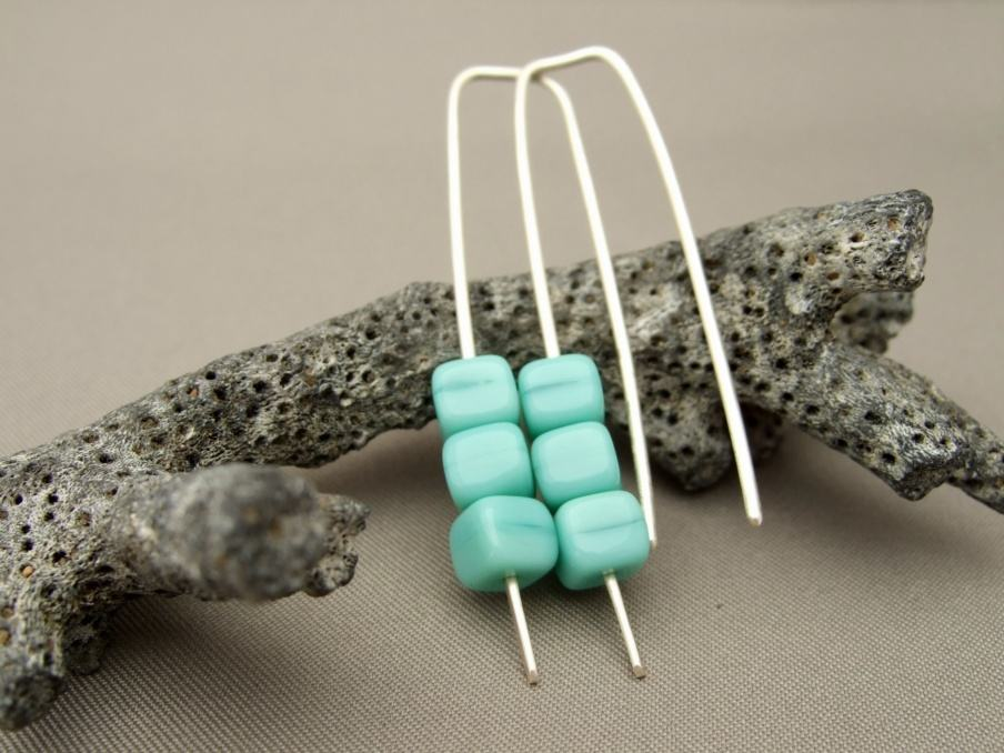 Seafoam Green Sterling Silver Cube Czech Glass Earrings