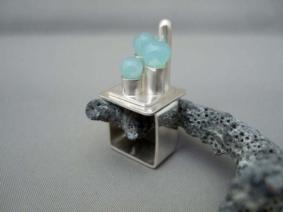 Peruvian Blue Chalcedony Castle Ring
