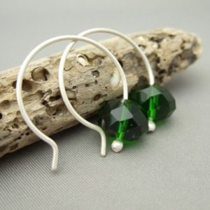 Emerald Green Czech Glass Sterling Silver Modern Contemporary Drop Earrings